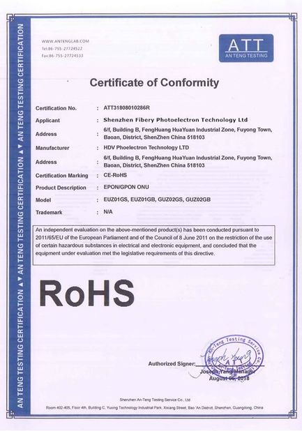 China Shenzhen Fibery Photoelectron Technology Ltd., Certification